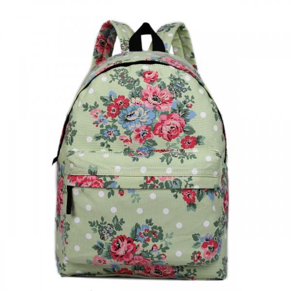E1401F - Miss Lulu Large Backpack Flower Polka Dot Green