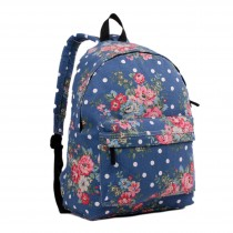 E1401F - Miss Lulu Large Backpack Flower Polka Dot Navy