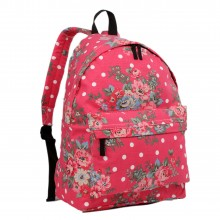 E1401F - Miss Lulu Large Backpack Flower Polka Dot Plum
