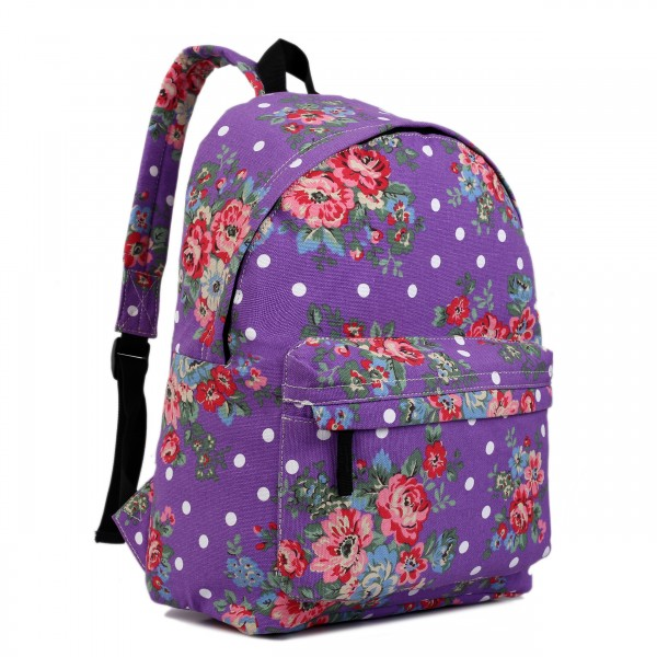 E1401F - Miss Lulu Large Backpack Flower Polka Dot Purple