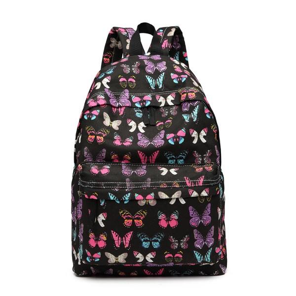 E1401B - Miss Lulu Large Backpack Butterfly Black