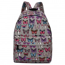 E1401B --Miss Lulu Large Backpack Butterfly Grey