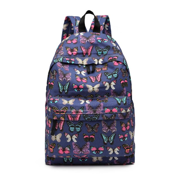 E1401B - Miss Lulu Large Backpack Butterfly Navy