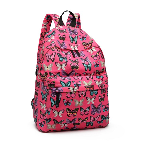 E1401B - Miss Lulu Large Backpack Butterfly Plum