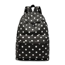 E1401D2 --Miss Lulu Large Backpack Polka Dot Black