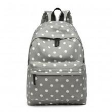 E1401D2 - Miss Lulu Large Backpack Polka Dot Grey