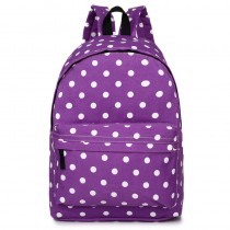 E1401D2 --Miss Lulu Large Backpack Polka Dot Purple