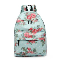 E1401F --Miss Lulu Large Backpack Flower Polka Dot Light Blue