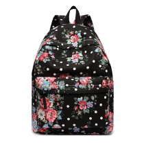 E1401F --Miss Lulu Large Backpack Flower Polka Dot Black