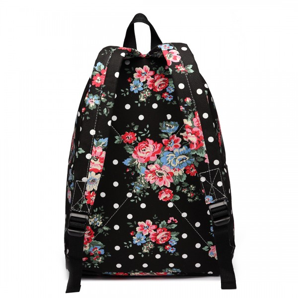 E1401F - Miss Lulu Large Backpack Flower Polka Dot Black