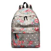 E1401F- Miss Lulu Duży plecak Flower Polka Dot Grey