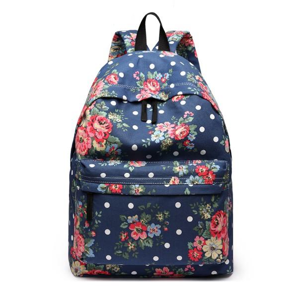 E1401F - Miss Lulu Large Backpack Flower Polka Dot Navy
