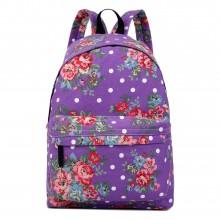 E1401F - Miss Lulu Large Backpack Flower Polka Dot Purple