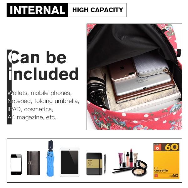 E1401F - Miss Lulu Large Backpack Flower Polka Dot Plum