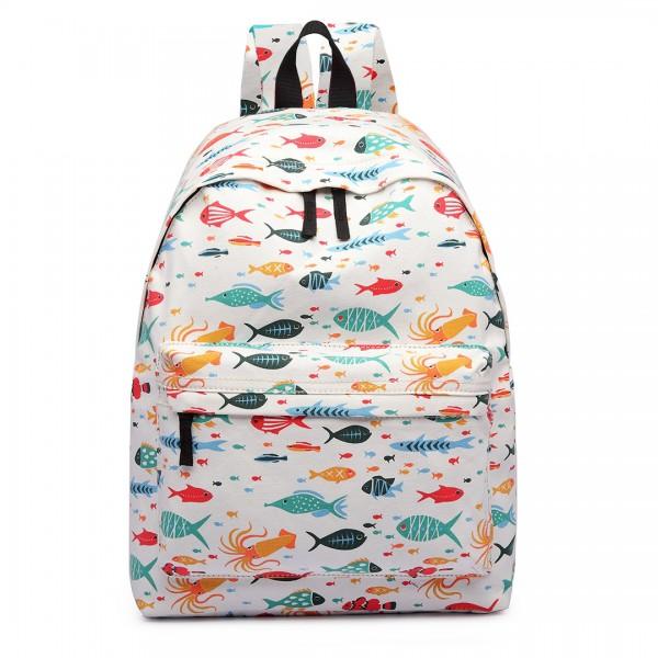 E1401FISH-E - Miss Lulu Large Backpack Fish Beige