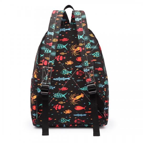 E1401FISH-E - Miss Lulu Large Backpack Fish Black