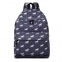 E1401H --Miss Lulu Large Backpack Horse Navy