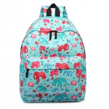 E1401NEW-E - Miss Lulu Large Backpack Elephant Light Blue