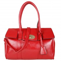 E1402 - Miss Lulu Leather Look Doctors Fashion Handbag Red