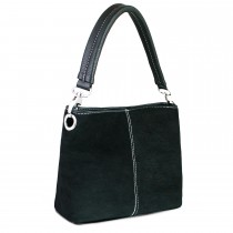 E1403 - Miss Lulu Suede Single Strap Handbag Black