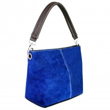 E1403 - Sac Miss Lulu sangle unique en daim bleu