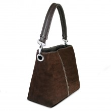E1403 - Miss Lulu Suede Single Strap Handbag Brown