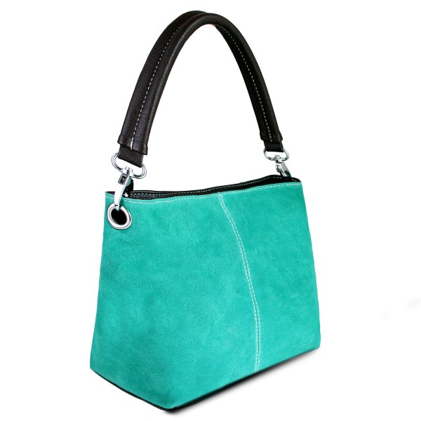 E1403 - Miss Lulu Suede Single Strap Handbag Turquoise