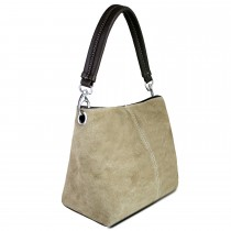 E1403 - Miss Lulu Suede Single Strap Handbag Khaki