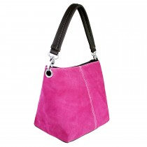 E1403 - Miss Lulu Suede Single Strap Handbag Pink