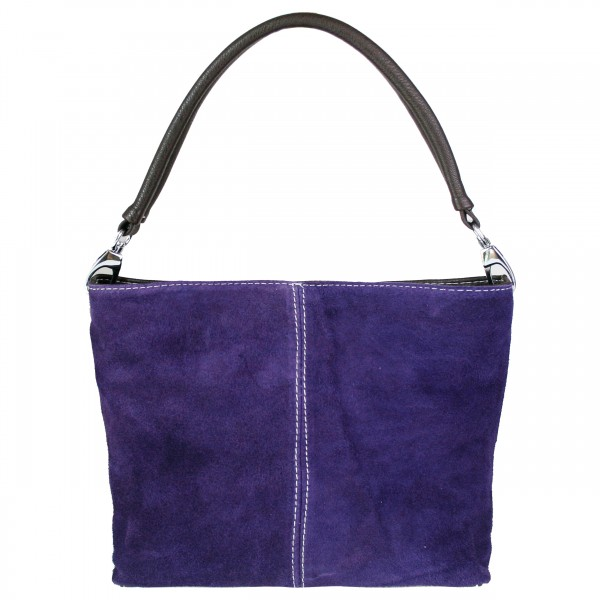 E1403 - Miss Lulu Suede Single Strap Handbag Purple