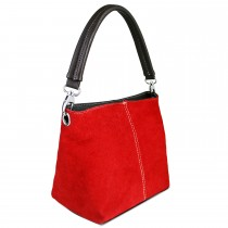 E1403 - Miss Lulu Suede Single Strap Handbag Red