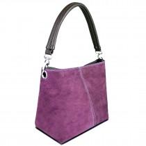 E1403 - Miss Lulu Suede Single Strap Handbag Light Purple