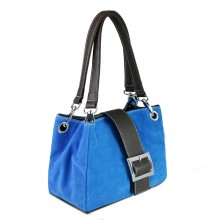 E1404 - Miss Lulu Suede Double Strap Handbag Blue