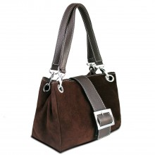 E1404 - Miss Lulu Suede Double Strap Handbag Brown