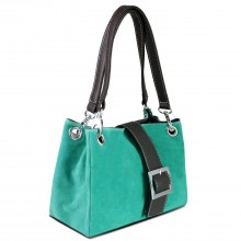 E1404 - Miss Lulu Suede Double Strap Handbag Turquoise