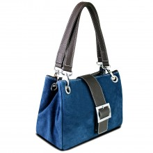 E1404 - Miss Lulu Suede Double Strap Handbag Navy
