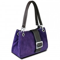 E1404 - Miss Lulu Suede Double Strap Handbag Purple