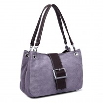 E1404 - Miss Lulu Suede Double Strap Handbag Grey