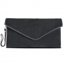 E1405 - Miss Lulu Suede Envelope Clutch Bag Black