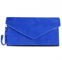 E1405 - Miss Lulu Suede Envelope Clutch Bag Blue