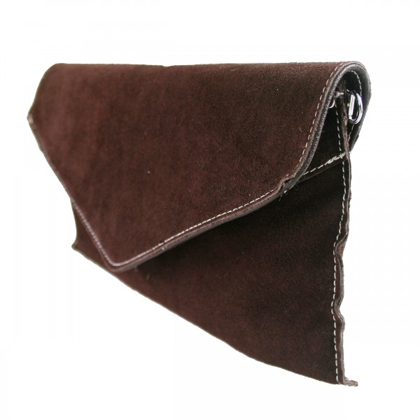 E1405 - Miss Lulu Suede Envelope Clutch Bag Brown