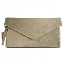 E1405 - Miss Lulu Suede Envelope Clutch Bag Khaki