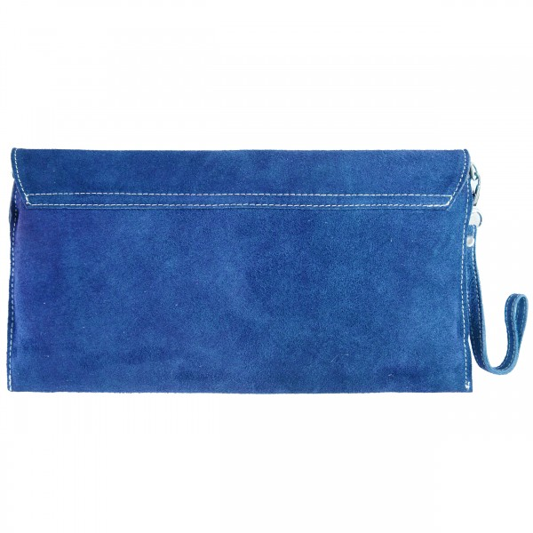 E1405 - Miss Lulu Suede Envelope Clutch Bag Navy
