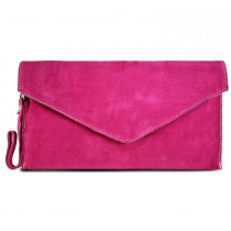 E1405 - Miss Lulu Suede Envelope Clutch Bag Pink