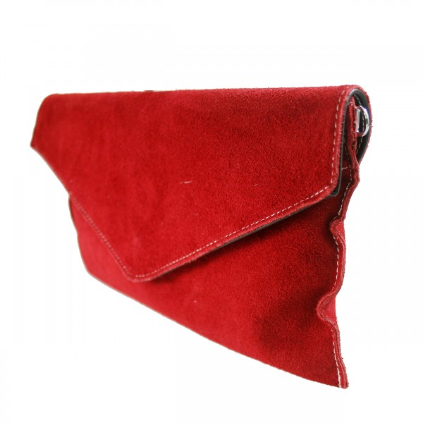 E1405 - Miss Lulu Suede Envelope Clutch Bag Red