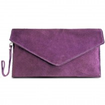 E1405 - Miss Lulu Suede Envelope Clutch Bag Light Purple