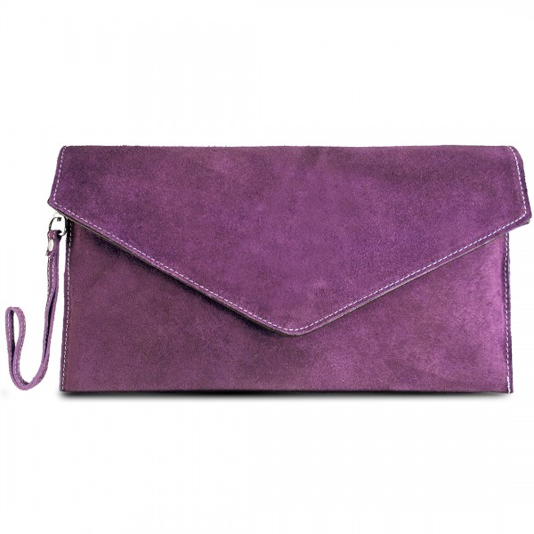 E1405 - Miss Lulu Suede Envelope Clutch Bag Light Purple