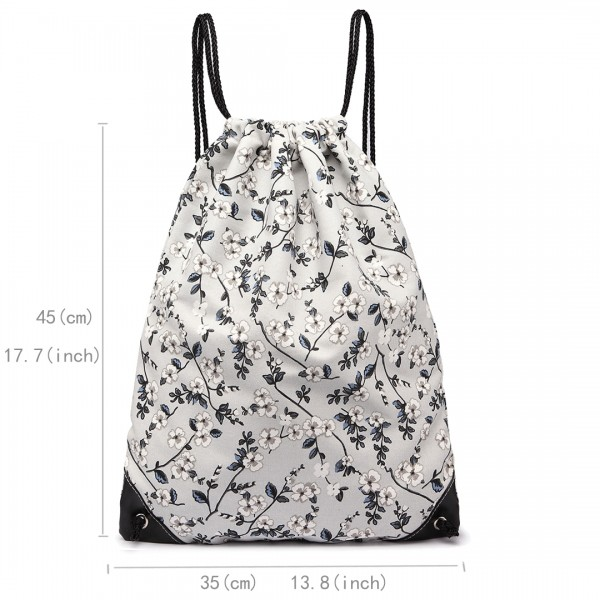E1406-16F - Miss Lulu Unisex Drawstring Backpack Flower Print Grey