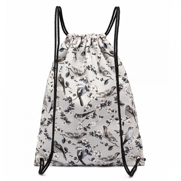 E1406-16J - Miss Lulu Unisex Drawstring Backpack Bird Print Grey