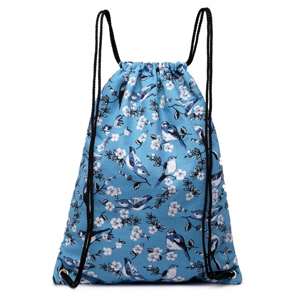E1406-16J - Miss Lulu Unisex Drawstring Backpack Bird Print Blue